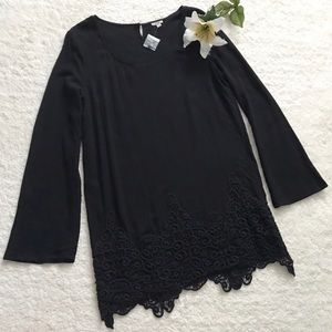 UO Ecote Crochet Bell Sleeve Dress Tunic Black